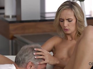OLD4K. Winsome chick wakes up and is ready for sex with old husband